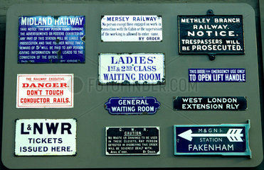 railway signs.
