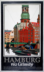'Hamburg via Grimsby'  LNER poster  c 1927.