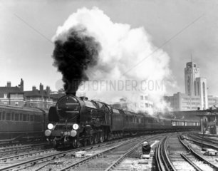 The 'Lord Anson' steam locomotive leaving London Victoria  1939.