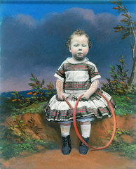 Portrait of a child with a hoop  hand-coloured ambrotype  c 1860.