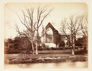 A ruined abbey  c 1855.