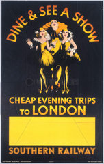 Dine & See a Show - Cheap Evening Trips to London'  SR poster  1936.