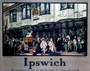 'Ipswich: Mr Pickwick outsideThe Ancient House'  LNER poster  1928.