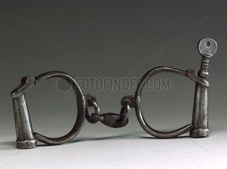 Pair of steel handcuffs  1918.