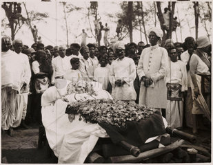Funeral of Dr Annie Besant  Madras  India  1933.