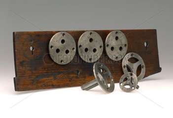 Five Bramah lock templates  c 1780.