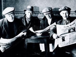 Miners on strike  Harworth colliery  Nottinghamshire  1937.
