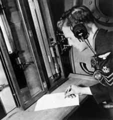 Royal Air Force aircraft controller at work