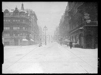 Snow in Oxford Street  London  1941.
