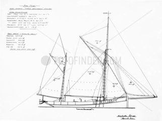 Sail plan of smack 'Three Brothers of Rye'  1937.
