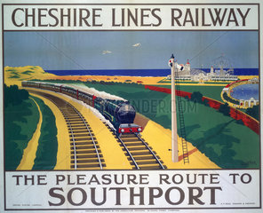 'The Pleasure Route to Southport'  Cheshire Lines Railway poster  1935.