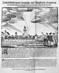 Spectators watching the tornado at Augsburg  Germany in July 1587.