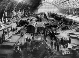 Bomb damage at St Pancras station  London