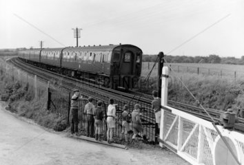 '4CEP' electric locomotive near Faversham  Kent  1959.