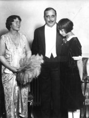 Herbert George Wells with his wife and daughter  1920s.
