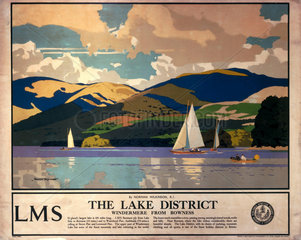 'The Lake District - Windermere from Bowness'  LMS poster  1923-1947.
