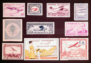 International postage stamps with an aviation theme  1877-1933.