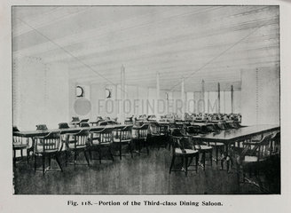 Third class dining saloon on the 'Olympic' White Star liner  1911.