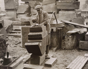 Stonenmason working on the Anglican Cathedral  Liverpool  1934.