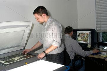 Scanning transparencies  Science Museum  London  2003.