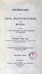 Title page from 'A Dictionary of Arts  Manufactures and Mines'  1846.