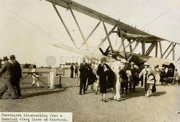 Disembarking passenger at Khartoum  Sudan  Africa  1930s.