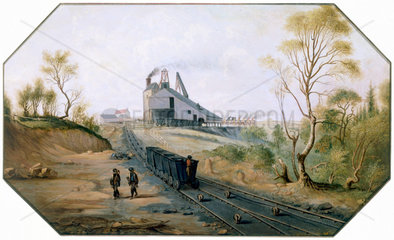 Colliery and wagonway  Northumberland and Durham coalfield  c 1845.