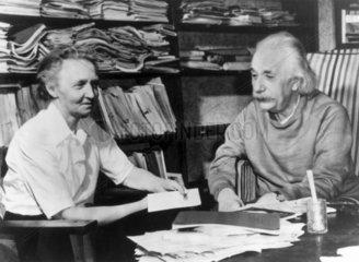 Physicists Albert Einstein and Irene Joliot-Curie  c 1940s.
