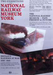 'Exhibitions at the National Railway Museum'  poster  1989-1990.
