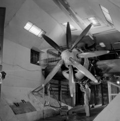 Large propellor engine being tested in wind tunnel  Bristol  1959.