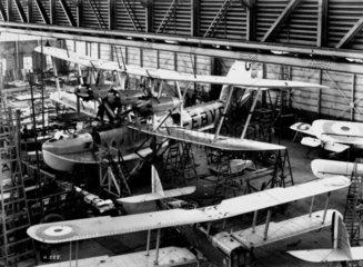 'Calcutta' flying boat under construction  Short's factory  Belfast  1928.