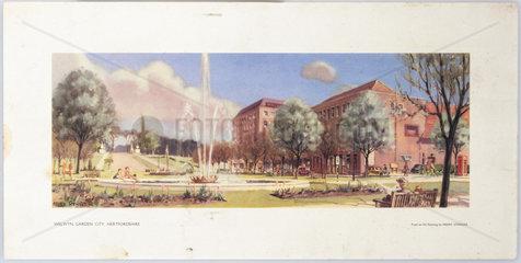 Welwyn Garden City  BR carriage print  c 1950s.
