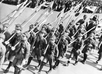 Boy scouts celebrate the 2 598th anniversary of Japan  Tokyo  1938.