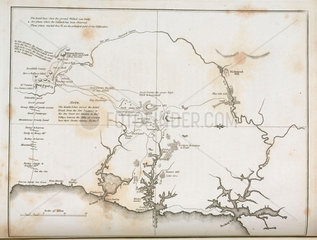 Map of Sydney and surrounding areas  Australia  c 1798.
