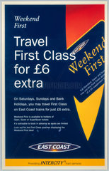 'Travel First Class for £6 Extra'.  c 1980s.