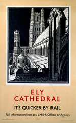 'Ely Cathedral'  LNER poster  c 1940s.