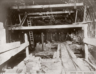 Construction of the crossover at Moorgate  London  c 1892-1911.