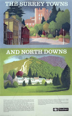 'The Surrey Towns and North Downs'  BR poster  1950s.