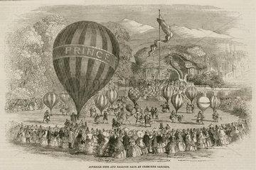 'Juvenile Fete and Balloon Race at Cremorne Gardens'  1859.