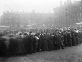 Queue of people at Huddersfield Station  First World War  17 November 1917.