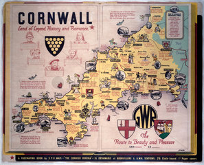 'Cornwall  The Route to Beauty and Pleasure'  GWR poster  c 1933.
