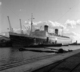 'Queen Elizabeth' alongside Ocean Terminal  Southampton Docks  1951.