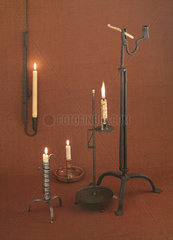 Five candlesticks with candles  19th century.