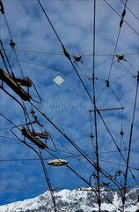 Power lines above tram track  Innsbruck  Austria  2007.
