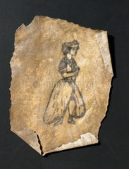 Human skin  tattooed with female figure  French  19th century.