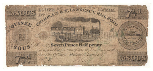 Paper Note issued by Champlain & St Lawrence Rail Road  c 1837.