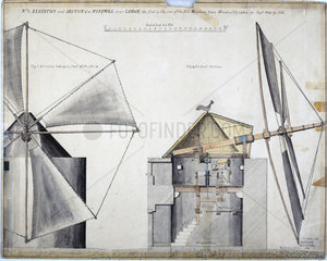 Elevation and section of a windmill near Lisbon  Portugal  September 1840.