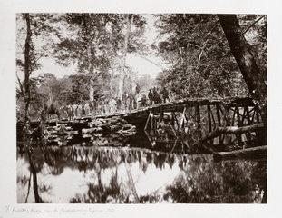 A military bridge over the Chickahominy  Virginia  USA  c 1862.