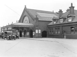 Exterior of Barrow Station  Cumbria  11 February 1930.