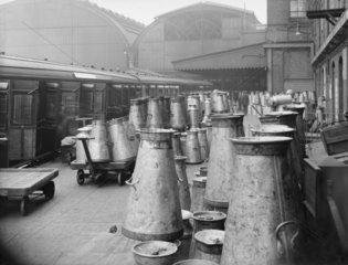 Milk traffic at Paddington station  1923.